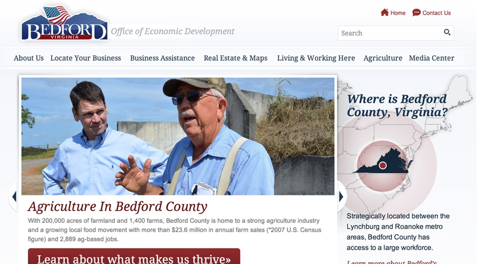 The Bedford Economic Development website raises the visibility of the benefits of locating or expanding a business in Bedford County.