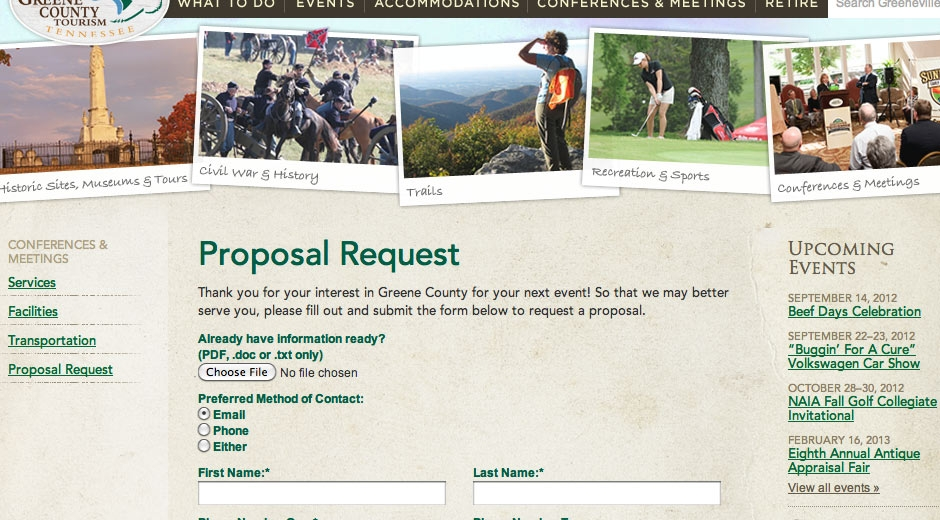 People can submit a request for proposal on the website, helping the tourism department bring events to the area.