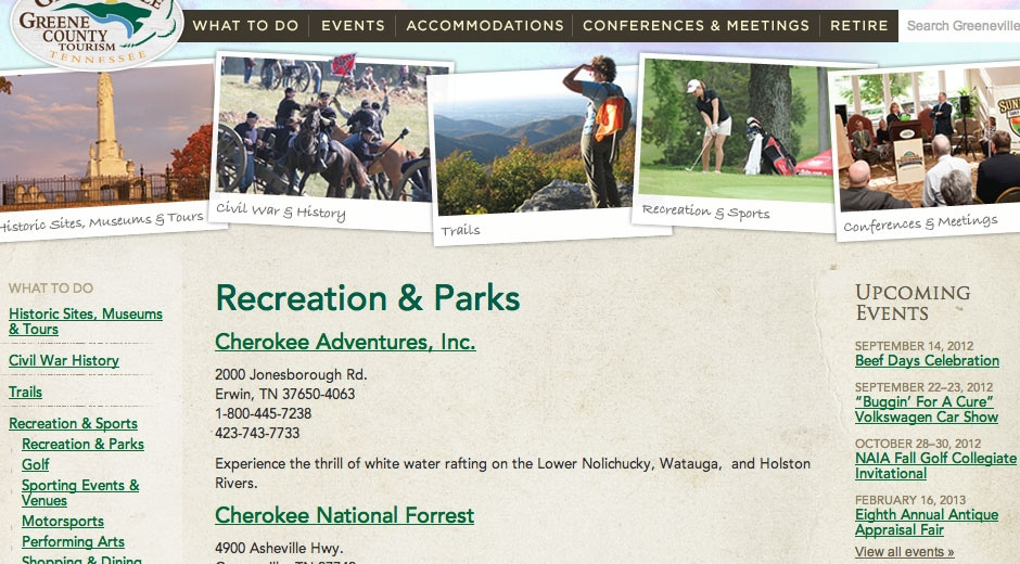 The website features a full listing of things to do, places to stay, events and more.