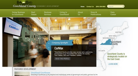 The homepage features companies headquartered in the area.