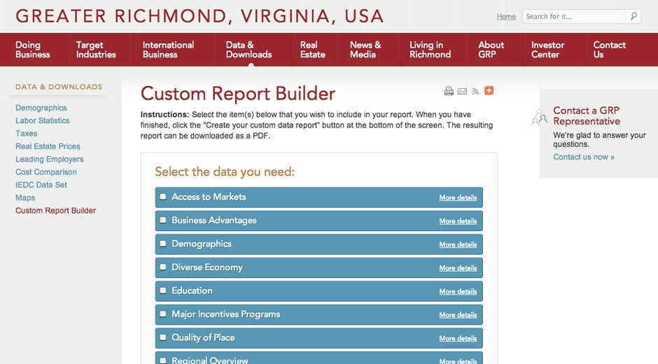 A new custom report builder generates proposals for download in PDF format.