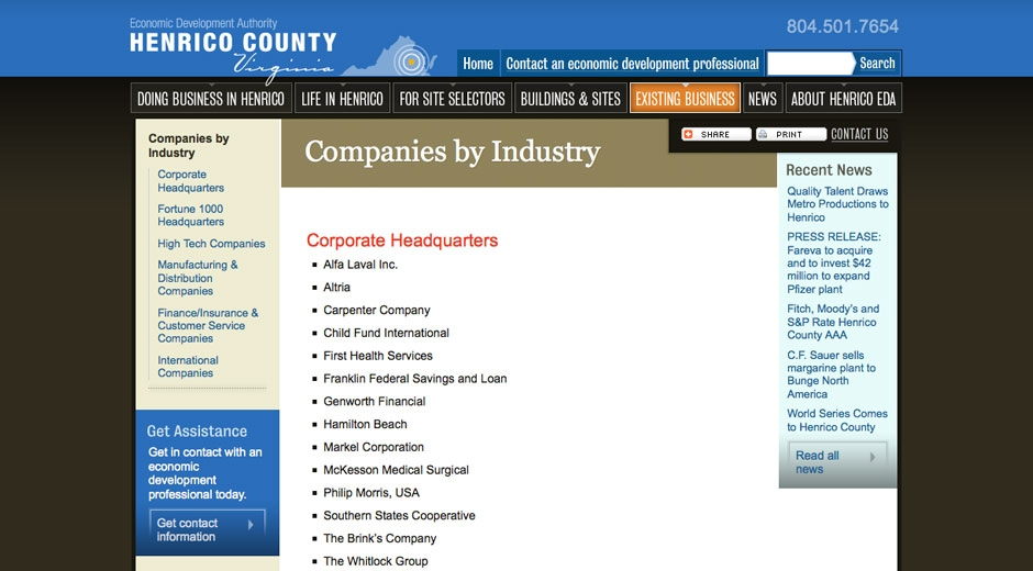 The content management system maintains a list of companies in the county.