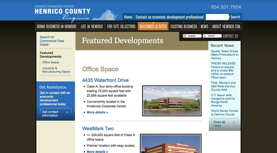 Henrico EDA staff can publish information, including photos, site plans, floor plans, etc. on featured commercial properties.