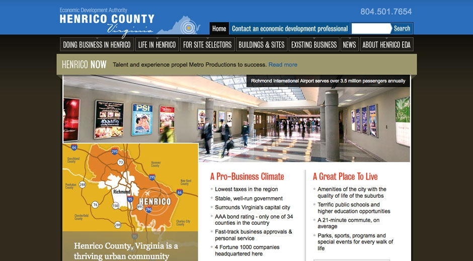 Henrico Economic Development Authority homepage features a slideshow, a map and featured news.