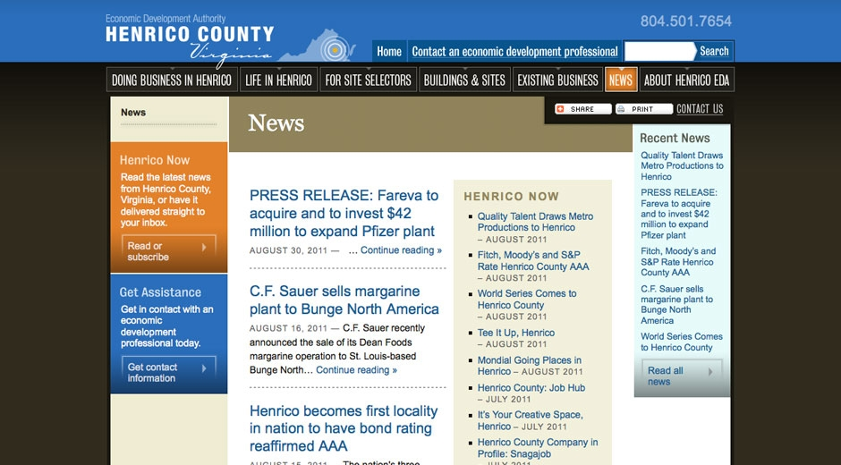 Henrico EDA staff can publish news items in-house, and the website integrates with external news features.