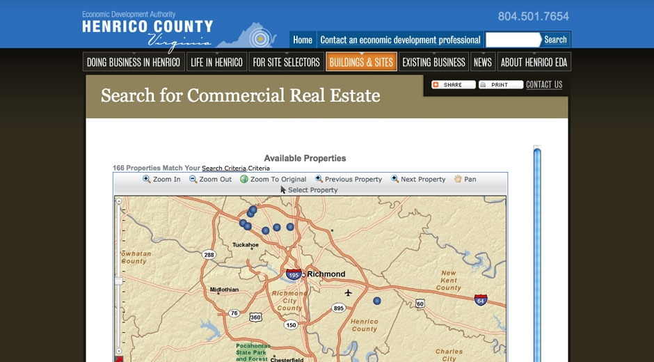 Visitors can search Virginia's commercial real estate system directly from the Henrico website.