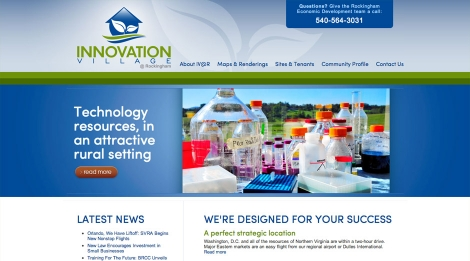 The Innovation Village @ Rockingham homepage focuses on the key advantages of the park.