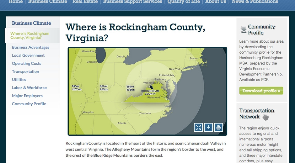 A downloadable map shows the location of Rockingham County and distances from other places on the East Coast.