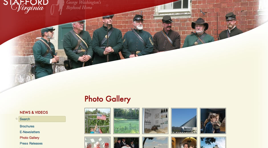 A photo gallery helps give visitors a sense of place and the rich history of the county.