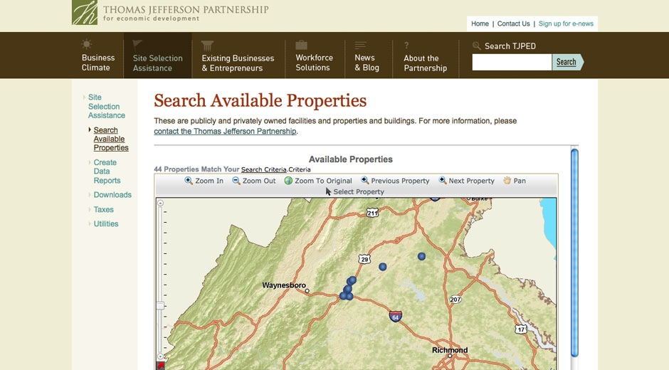 Visitors can search available commercial real estate using Virginia's state system.