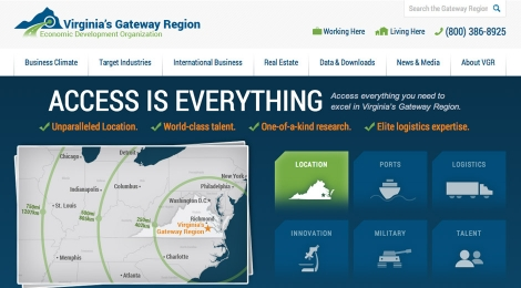 Virginia's Gateway Region homepage reinforces unique aspects of their location and proximity to transportation and labor.