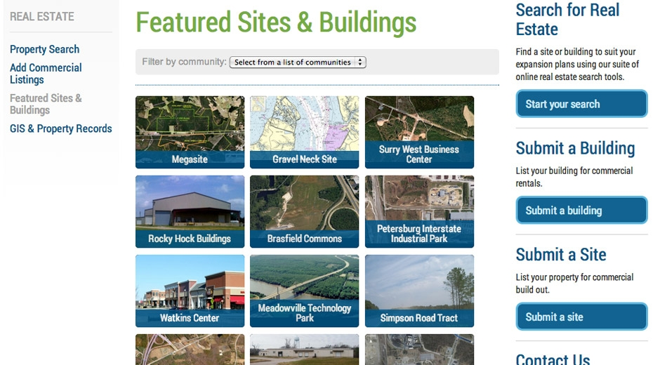Visitors can search a real estate database or see enhanced listings for featured buildings and sites in the region.